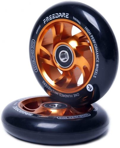 100mm Pro Stunt Scooter Replacement Wheels with ABEC Bearings(Orange, Set of 2)