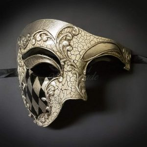 Blue & Gold Musical Men's Half Phantom Mask