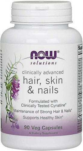 NOW Solutions, Hair, Skin and Nails, Clinically Advanced, Support with Clinically Tested Cynatine, 90 Veg Capsules