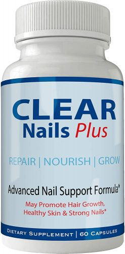 Clear Nails Plus Pills Supplement - Advanced Unique Hair Growth Vitamins and Minerals with Biotin - Gluten Free 60 Capsules - Hair Lash Skin and Nails Extra...