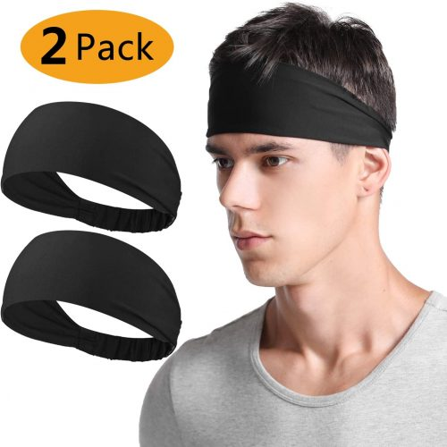 Neitooh Headbands for Men Women(2 Pack), Mens Headband Elastic Sweat Wicking Non Slip for Workout Running Sports Travel Fitness Riding Cycling Hiking,...