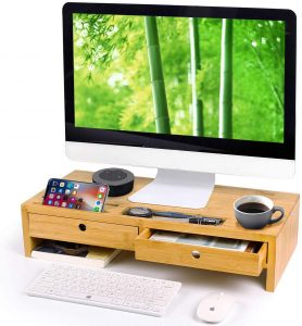 Bamboo Monitor Stand Riser with Drawers by Qlben
