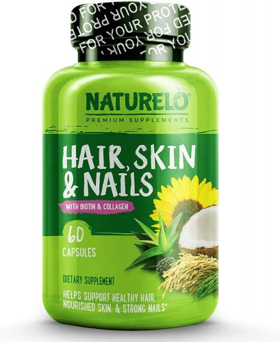 NATURELO Hair, Skin and Nails Vitamins - 5000 mcg Biotin, Natural Collagen, Organic Vitamin C - Best Supplement for Faster Hair Growth for Women - Hair Loss...