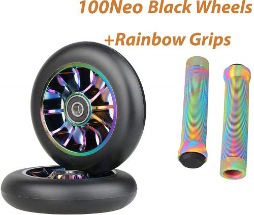 100mm Scooter Wheels - Pro Scooter Wheels 100mm Pair - Neo Oil Slick 100mm Metal Scooter Wheels Replacement - Pro Scooter Wheels 100mm - 24mm x 100mm -...