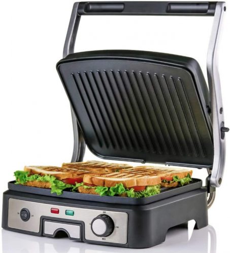 Ovente Electric Panini Press Grill 4 Slices Non Stick Coated Plates