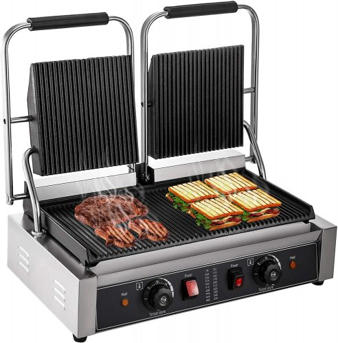 Happybuy 110V Commercial Sandwich Panini Press Grill 2X1800W