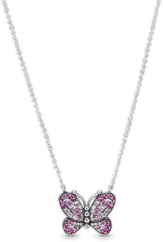 PANDORA Dazzling Pink Butterfly 925 Sterling Silver Necklace