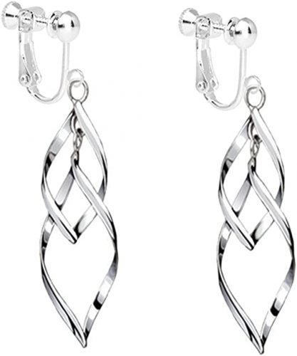CNCbetter Fashion Womens White Gold Plated Clip on Earrings