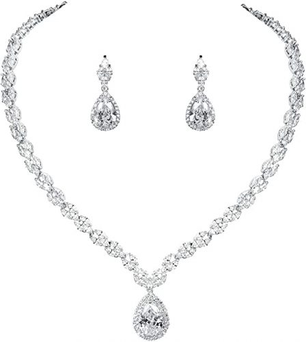 WeimanJewelry White Gold/Gold Plated Women Cubic Zirconia CZ Marquise Teardrop Bridal Set