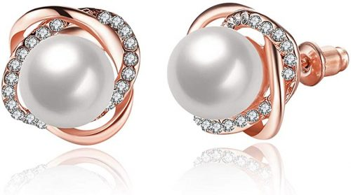 Silver Rose Gold Pearl Knotted Stud Earrings
