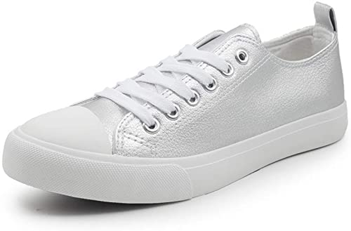 Womens Sneakers Tennis Vegan Leather Shoes Casual Shoes for Women Low Top Cap Toe Flats