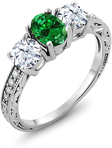 Gem Stone King 925 Sterling Silver Green Simulated Emerald Women's Ring