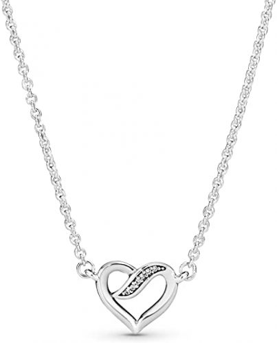 Pandora Jewelry Ribbon Open Heart Necklace Cubic Zirconia Necklace