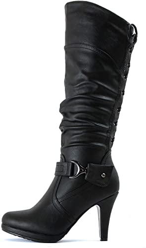 Guilty Heart Women's Slouched Fitted Knee High High Heel