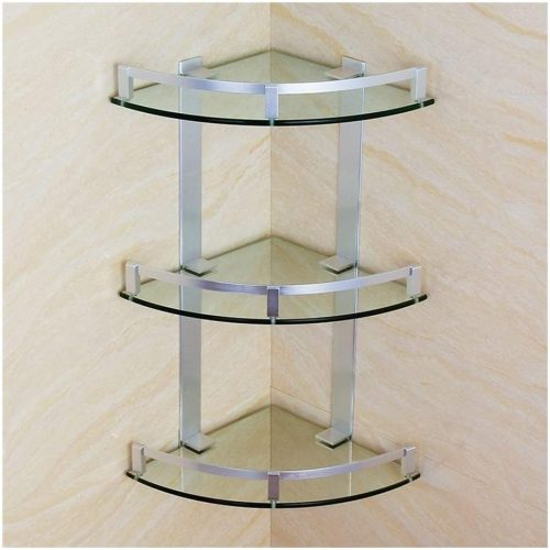 HUIZWJ Tempered Glass Shelf Bathroom Corner Frame