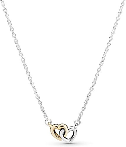 Pandora Jewelry Interlocked Hearts Collier Sterling Silver and 14K Yellow Gold Necklace