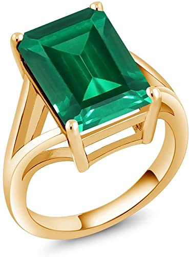 Gem Stone King 6.50 Ct Green Simulated Emerald 18K Yellow Gold Plated Silver Women's Solitaire Ring
