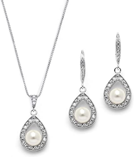 Mariell Wedding Necklace and Earrings Pearl Jewelry Set