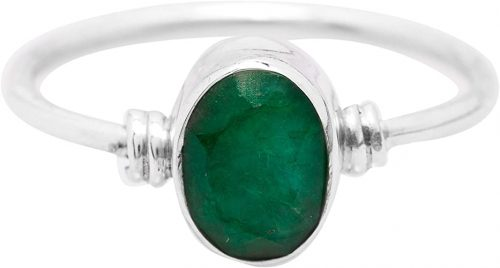 Oval Created Emerald Delicate Ring