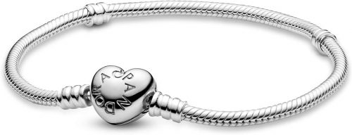 """PANDORA Jewelry Moments Heart Clasp Snake Chain Charm Sterling Silver Bracelet, 6.7"""""""