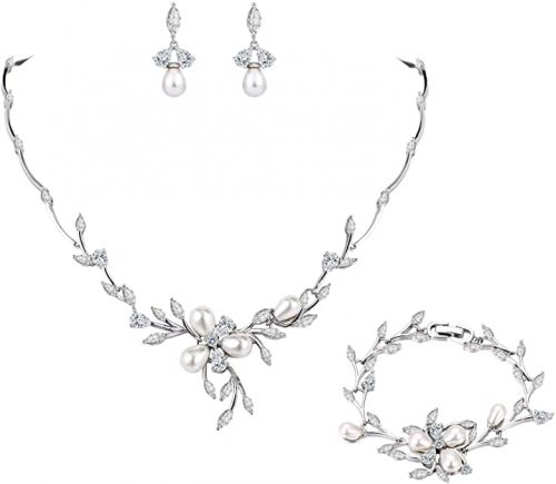 EVER FAITH Marquise CZ Simulated Pearl Bridal Flower Leaf Filigree Set