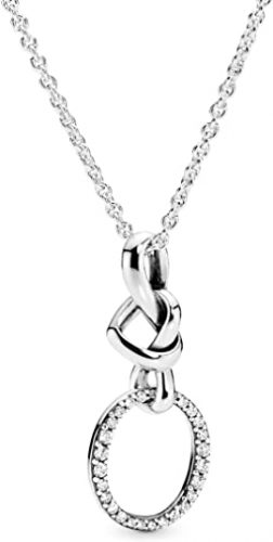 Pandora Jewelry Knotted Heart Pendant Cubic Zirconia Necklace