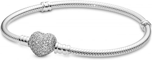 """PANDORA Jewelry Moments Sparkling Heart Clasp Snake Chain Charm Cubic Zirconia Bracelet in Sterling Silver, 7.5"""""""
