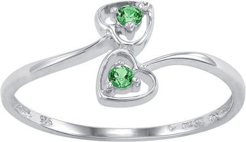 ArtCarved Dainty Heart Sterling Silver Simulated Birthstone Ring