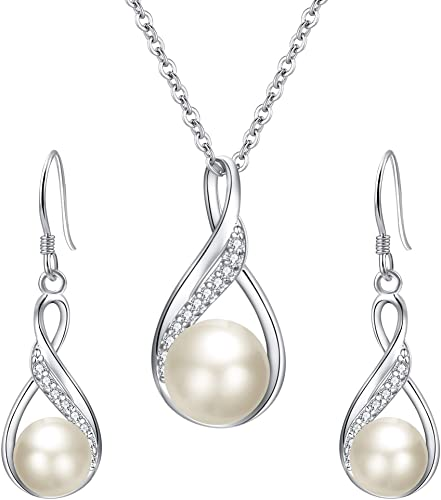 EleQueen 925 Sterling Silver CZ Freshwater Cultured Pearls Bridal Set