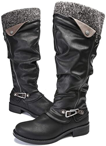 Gracosy Leather Knee Boots