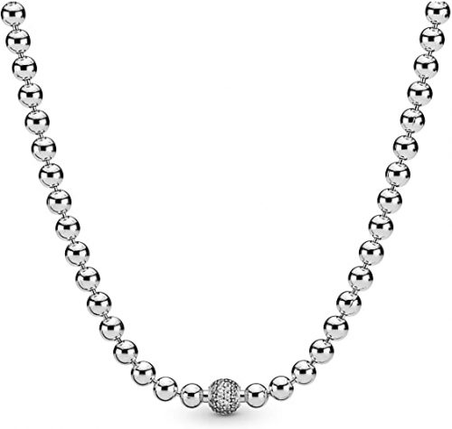 Pandora Jewelry Beads and Pave Cubic Zirconia Necklace