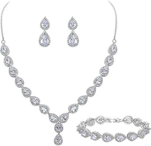 BriLove Women's Wedding Bridal Teardrop CZ Infinity Set