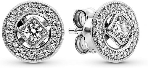 Pandora Jewelry Vintage Circle Stud Cubic Zirconia Earrings
